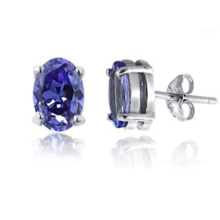 Glitzy Rocks Sterling Silver 1 7/8ct TGW Tanzanite Oval Stud Earrings