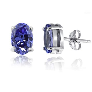 Glitzy Rocks Sterling Silver 2 3/5ct TGW Tanzanite Oval Stud Earrings