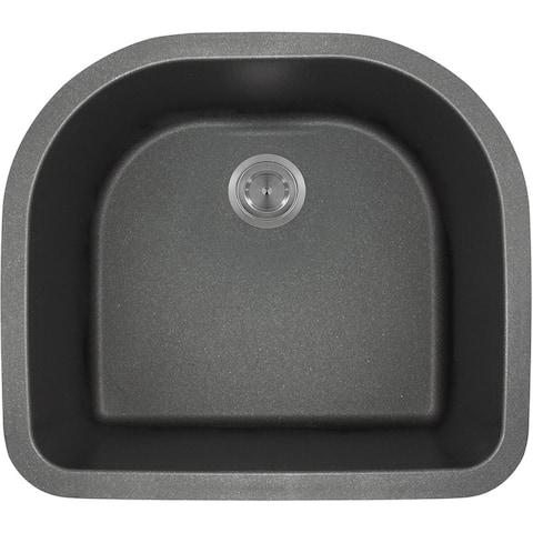 Polaris Sinks P428BL Black Astragranite D-Bowl Kitchen Sink
