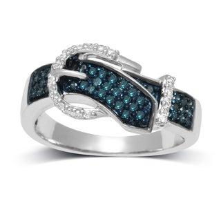 Unending Love Sterling Silver 3/8ct TDW Blue and White Diamond Buckle Ring (H-I, I1-I2)