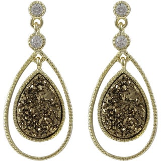 Luxiro Gold Over Silver or Sterling Silver Druzy Quartz Floating Teardrop Earrings (Option: Gold Champagne - Yellow)