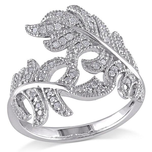 Miadora Sterling Silver 1/5ct TDW Diamond Flower Leaf Ring