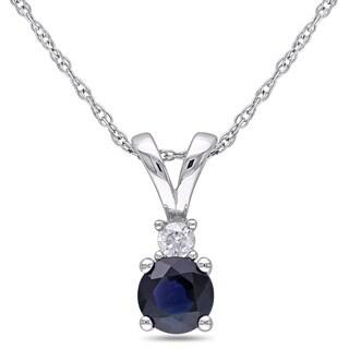 Miadora 10k White Gold Sapphire and Diamond Accent Necklace