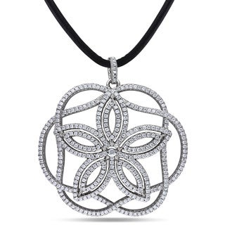 Miadora Sterling Silver Cubic Zirconia Flower Necklace