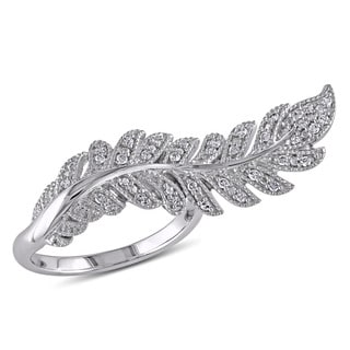 Miadora Sterling Silver 1/5ct TDW Diamond Flower Leaf Ring