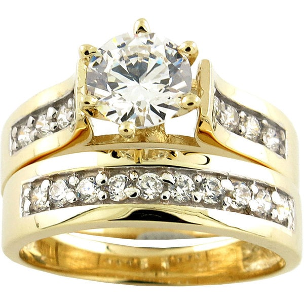 10k Yellow Gold Cubic Zirconia Wide band Bridal Set Free