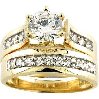 Shop 10k Yellow Gold Cubic Zirconia Wide-band Bridal Set - On Sale ...