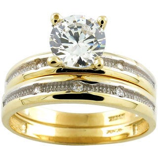 10k Yellow gold Two-tone Round Cubic Zirconia Bridal Set
