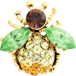 Goldtone Multicolor Crystal Bee Brooch