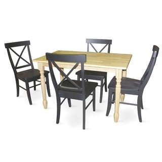 Dining Essentials Natural/ Black Table and Chair 5-piece Set