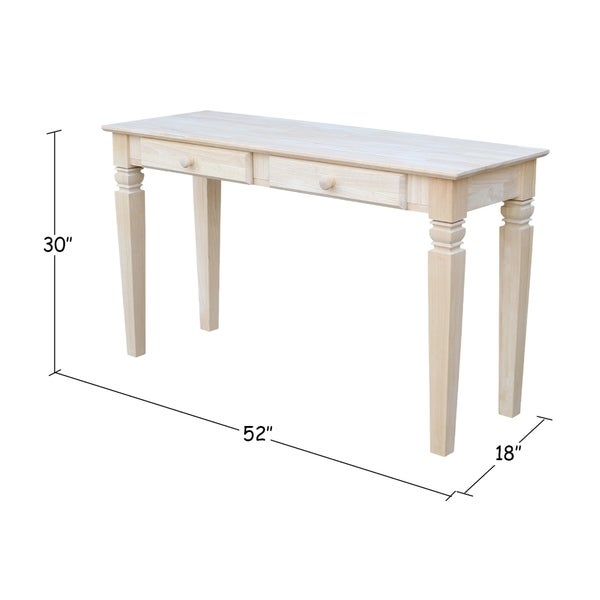 Unfinished Solid Parawood Java 2 Drawer Sofa Table