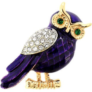 Cubic Zirconia and Enamel Purple Owl Brooch