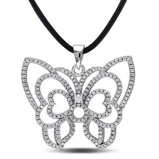 Miadora Sterling Silver Cubic Zirconia Butterfly Necklace