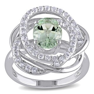 Miadora Sterling Silver Green Amethyst and White Topaz Flower Ring