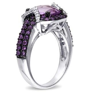 Miadora Sterling Silver Amethyst and 1/6ct TDW Diamond Ring (H-I, I2-I3)
