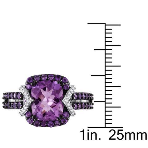 Miadora Sterling Silver Amethyst 1/6ct TDW Diamond Ring (HI, I2I3)