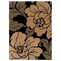 Linon Florence Black/ Sand Area Rug (5' x 7')