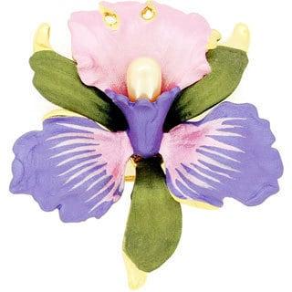 Faux Pearl Light Purple Orchid Flower Brooch