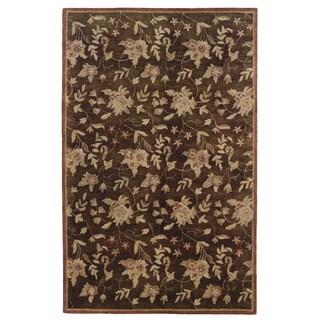 Linon Ashton Chocolate/ Brick Area Rug (Brown 4 x 6)