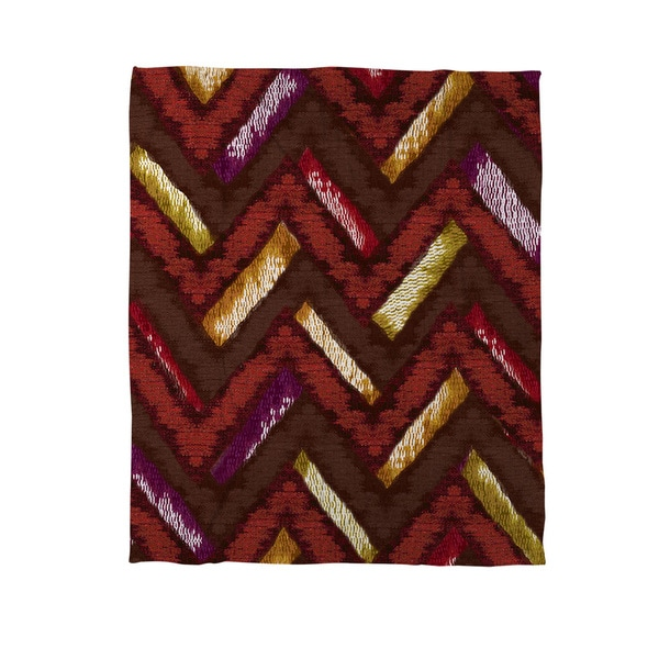 Chevron Ikat Spice Coral Fleece Throw