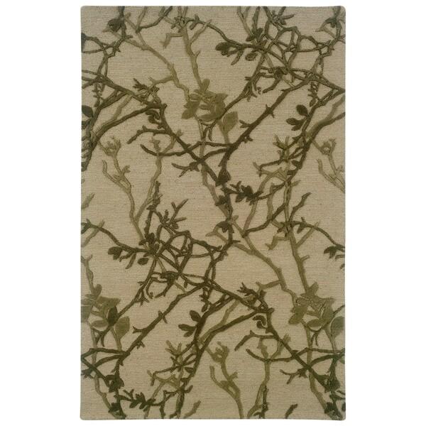 Linon Ashton Beige/ Olive Area Rug - 5' x 8'