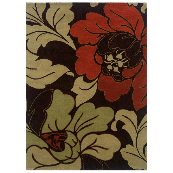Linon Florence Black/ Cinnamon Area Rug (5' x 7') - 5' x 7'