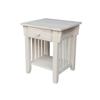 Unfinished Solid Parawood Mission End Table