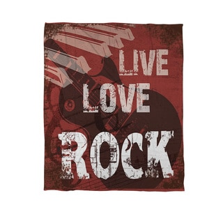 Thumbprintz Live Love Rock Coral Fleece Throw