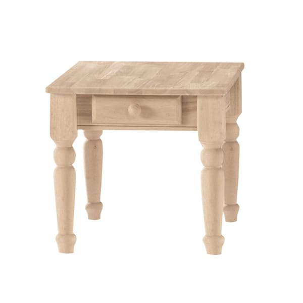 Unfinished Solid Parawood Traditional Single Drawer End