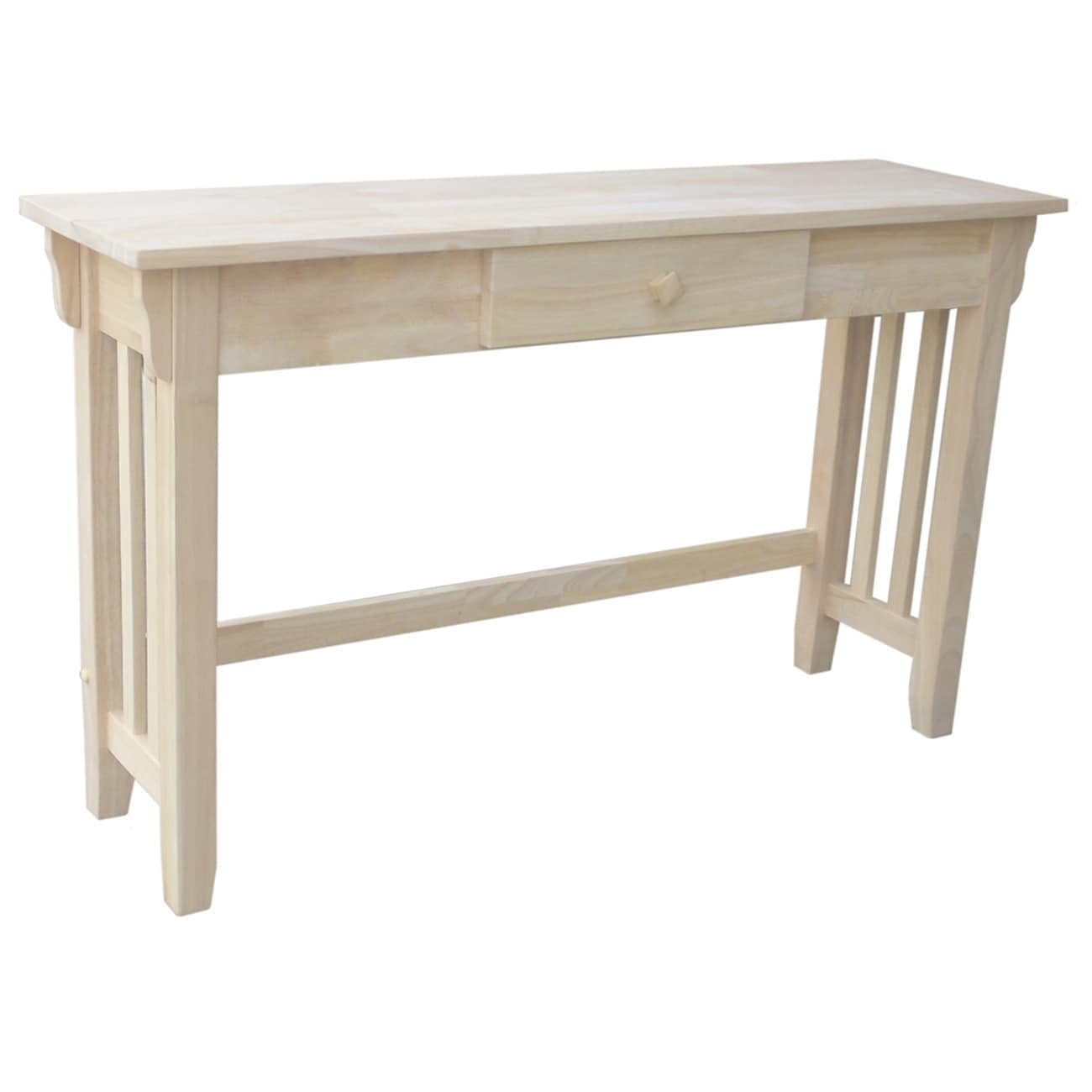 Unfinished Solid Parawood Mission Console Table