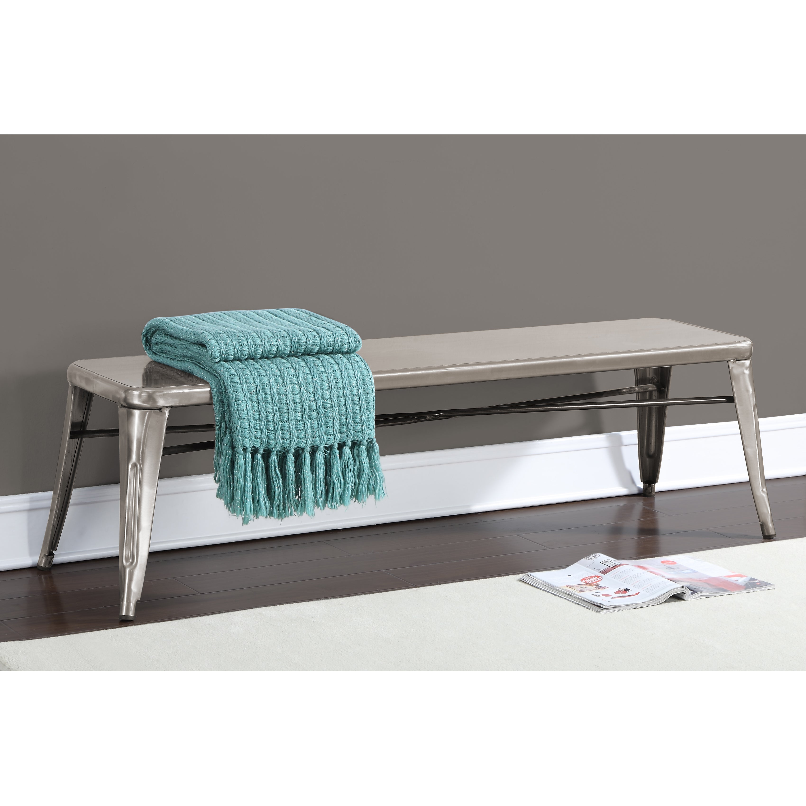 Tabouret Gunmetal 60-inch Indoor Bench, Grey