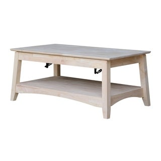 Unfinished Solid Parawood Bombay Tall Lift-top Coffee Table