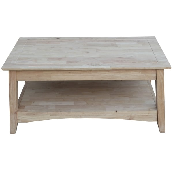 shop unfinished solid parawood bombay tall lift top coffee table