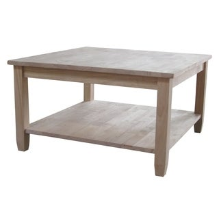 Solano Square Unfinished Solid Parawood Coffee Table