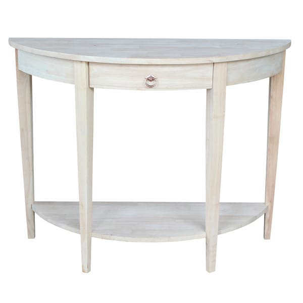 Half moon unfinished modern console table free shipping for 1 2 moon table