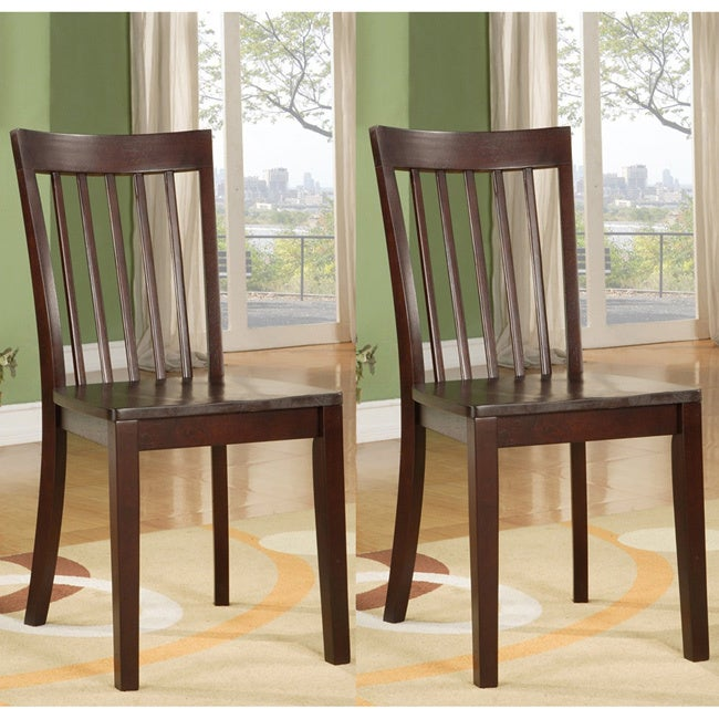 Unbranded Warm Cherry Slat-back Wooden Dining Chairs (Set...