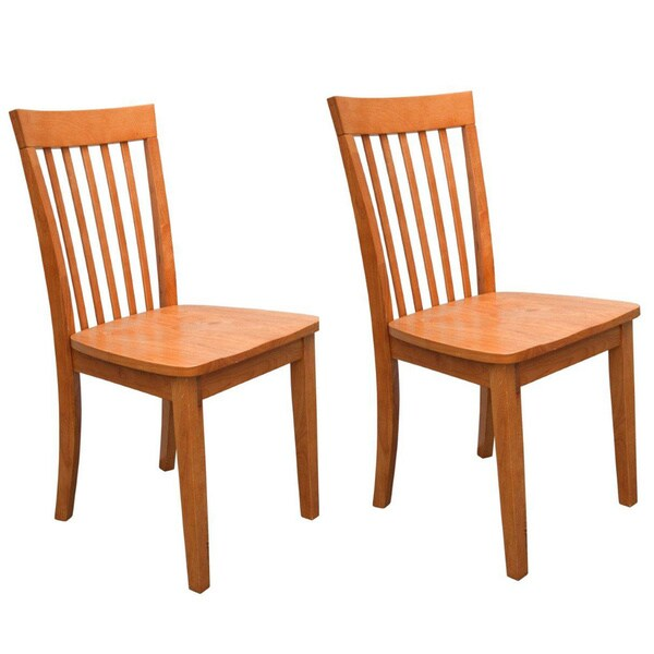 Natural finished slat back wooden dining chairs set of