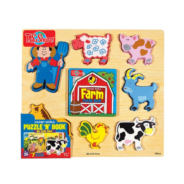 Chunky World Farm Chunky Wooden Puzzle and Book