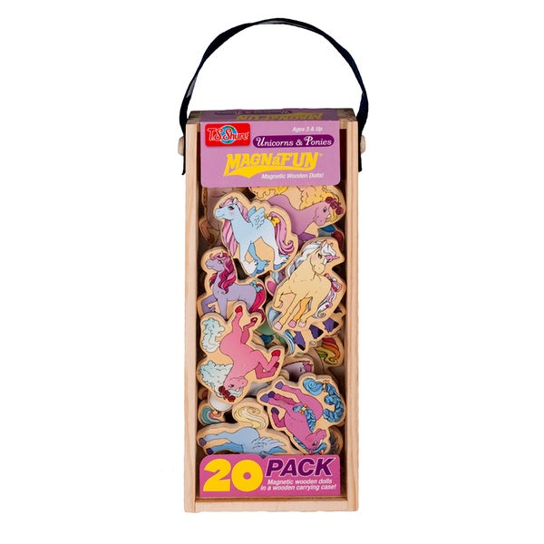 Unicorns and Ponies Wooden 20-Piece MagnaFun Set