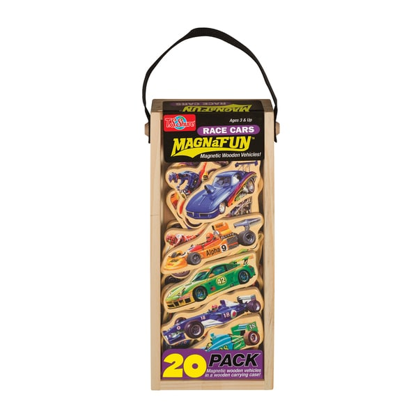 T.S. Shure Race Cars Wooden 20-Piece MagnaFun Set