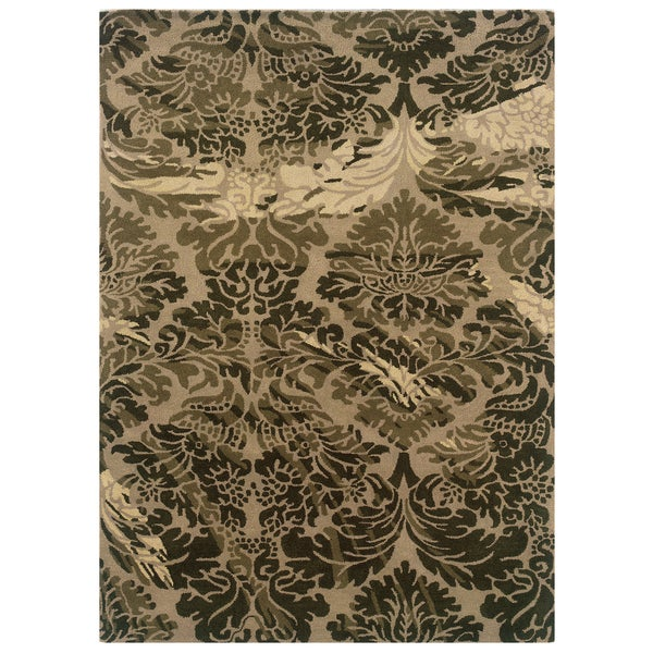 Shop Linon Florence Taupe Olive Area Rug 8 X 10
