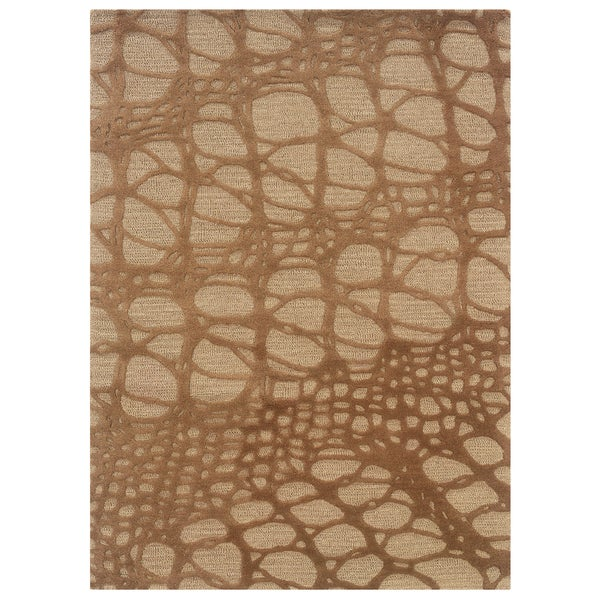 Linon Florence Ivory/ Pale Gold Area Rug - 8' x 10'