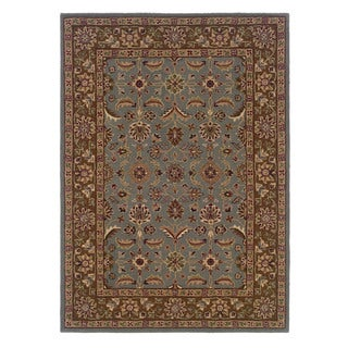 Linon Trio Traditional Light Blue/ Brown Area Rug (1'10 x 2'10)
