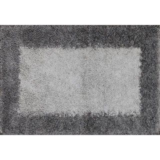 Grey and Black Bordered Shag Rug (4' x 6')