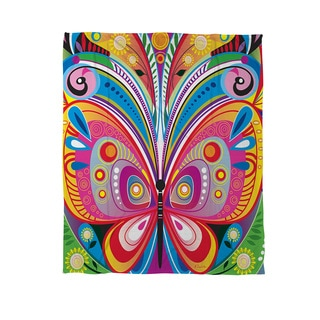 Thumbprintz Pattern Butterfly Coral Fleece Throw