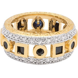 Dolce Giavonna Gold Over Sterling Silver Sapphire and Diamond Accent Geometric Design Ring