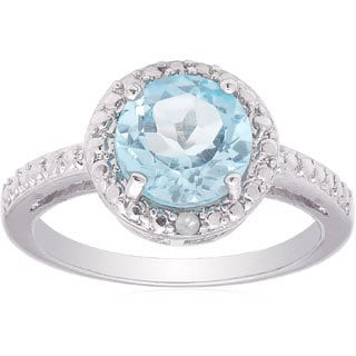 Dolce Giavonna Silverplated Blue Topaz and Diamond Accent Solitaire Ring (Size 7)