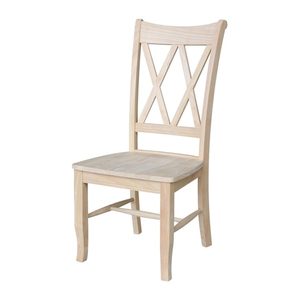International Concepts Unfinished Solid Parawood Double X Back Dining Chairs Set Of 2