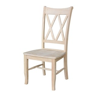 Unfinished Solid Parawood Double X-back Dining Chair (Set of 2)