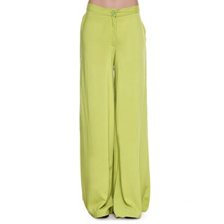 Global Desi Women's Boho Solid Lime Green Wide Leg Pants (India)